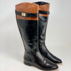 Cole Haan Black And Brown Leather Riding Boots